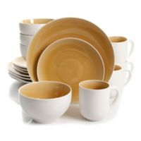 Gibson Serenity 16-Piece Dinnerware Set in Amber/White