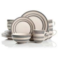 STUDIO CALIFORNIA Sunset Stripes 16-Piece Dinnerware Set in Grey/Cream