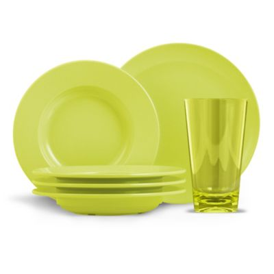 ThermoServe Cadence 12-Piece Melamine Bistro Dinnerware Set in Citrus Green  sc 1 st  Bed Bath u0026 Beyond : dinnerware sets green - pezcame.com