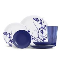 ThermoServ Dogwood Floral 16-Piece Melamine Dinnerware Set in Cobalt Blue