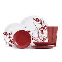 ThermoServ Dogwood Floral 16-Piece Melamine Dinnerware Set in Merlot