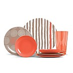 ThermoServ Stripes and Spirals 16-Piece Melamine Dinnerware Set in Coral
