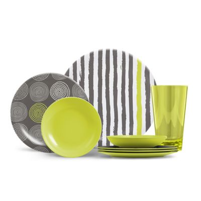 ThermoServ Stripes and Spirals 16-Piece Melamine Dinnerware Set in Citrus Green  sc 1 st  Bed Bath \u0026 Beyond & Buy Dinnerware 16 Piece Set from Bed Bath \u0026 Beyond