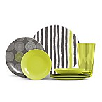 ThermoServ Stripes and Spirals 16-Piece Melamine Dinnerware Set in Citrus Green