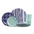 ThermoServ Stripes and Spirals 16-Piece Melamine Dinnerware Set in Aqua