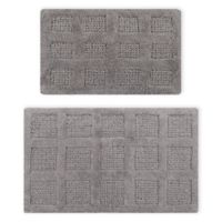 """Square Honeycomb 2-Piece 17"""" x 24"""" and 21"""" x 34"""" Bath Mat Set in Silver"""