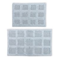 "Square Honeycomb 2-Piece 17"" x 24"" and 21"" x 34"" Bath Mat Set in Light Blue"