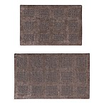 "Square Honeycomb 2-Piece 17"" x 24"" and 21"" x 34"" Bath Mat Set in Stone"