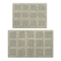 """Square Honeycomb 2-Piece 17"""" x 24"""" and 24"""" x 40"""" Bath Mat Set in Sage"""