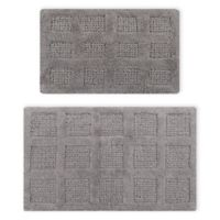 """Square Honeycomb 2-Piece 17"""" x 24"""" and 24"""" x 40"""" Bath Mat Set in Silver"""