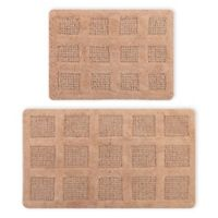 "Square Honeycomb 2-Piece 17"" x 24"" and 24"" x 40"" Bath Mat Set in Natural"