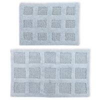 "Square Honeycomb 2-Piece 21"" x 34"" and 24"" x 40"" Bath Mat Set in Light Blue"