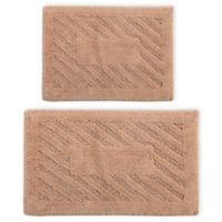 "Perthshire 17"" x 24"" and 24"" x 40"" Diagonal Racetrack Reversible Bath Rugs in Natural (Set of 2)"