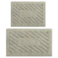 "Perthshire 17"" x 24"" and 24"" x 40"" Diagonal Racetrack Reversible Bath Rugs in Sage (Set of 2)"