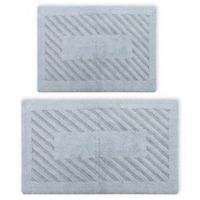 "Perthshire 17"" x 24"" and 24"" x 40"" Diagonal Racetrack Reversible Bath Rugs in Light Blue (Set of 2)"