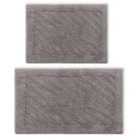"""Perthshire 20"""" x 30"""" and 21"""" x 34"""" Diagonal Racetrack Reversible Bath Rugs in Silver (Set of 2)"""
