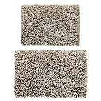 Castle Hill London 2-Piece 17-Inch x 24-Inch/20-Inch x 30-Inch Chenille Shaggy Bath Rug Set in Stone