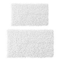Castle Hill London 2-Piece 17-Inch x 24-Inch/21-Inch x 34-Inch Chenille Shaggy Bath Rug Set in White