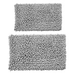 Castle Hill London Melbourne 2-Piece 20  x 30  and 24  x 40  Bath Mat Set in Silver