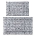 "Castle Hill London Summer Tile 2-Piece 20"" x 30"" and 21"" x 34"" Bath Mat Set in Silver"