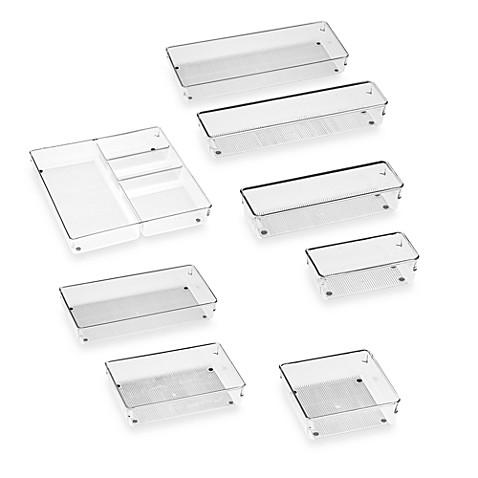 Interdesign linus acrylic drawer organizers bed bath for Bathroom drawer organizer