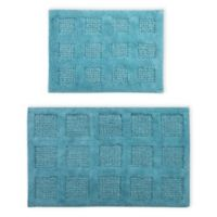 "Perthshire Square Honeycomb 2-Piece 17"" x 24"" and 21"" x 34"" Bath Rug Set in Aqua"