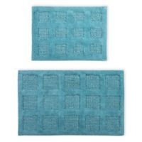 "Perthshire Square Honeycomb 2-Piece 17"" x 24"" and 24"" x 40"" Bath Rug Set in Aqua"