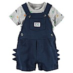 carter's® Size 6M 2-Piece Dinosaur Shortall and Shirt Set in Blue
