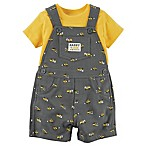 carter's® Size 6M 2-Piece Construction Shortall and Shirt Set in Grey/Yellow