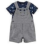 carter's® Size 3M 2-Piece Alien Shirt and Shortall Set in Grey/Blue