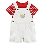 carter's® Size 9M 2-Piece Bear Face Shirt and Shortall Set in Red/Cream