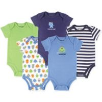 Luvable Friends® Size 18-24M 5-Pack Monster Short-Sleeve Bodysuits in Green