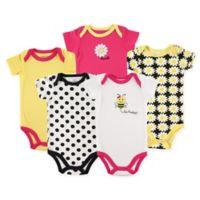 Luvable Friends® Size 12-18M 5-Pack Bee Bodysuits in Yellow