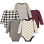 Hudson Baby® Size 6-9M 5-Pack Football Long Sleeve Bodysuits in Red