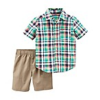 carter's® Size 18M 2-Piece Plaid Shirt and Poplin Short Set in Navy/Green