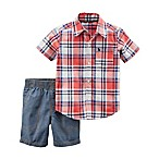 carter's® Size 3M 2-Piece Plaid Shirt and Chambray Short Set in Red