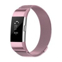Stainless Steel Milanese Large Loop Band for Fitbit Charge 2 in Pink
