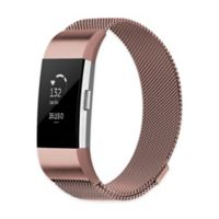 Stainless Steel Milanese Large Loop Band for Fitbit Charge 2 in Rose Gold