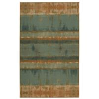 Mohawk Home Heirloom Painterly Stripe 7'6 x 10' Area Rug in Turquoise/Brown