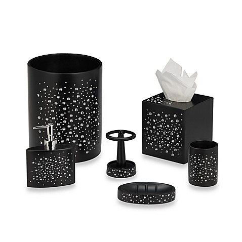 Diamond black bath ensemble bed bath beyond for Black and white bathroom sets