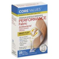 Core Values® 25-Count Premium Adhesive Antibacterial Performance Fabric Bandages