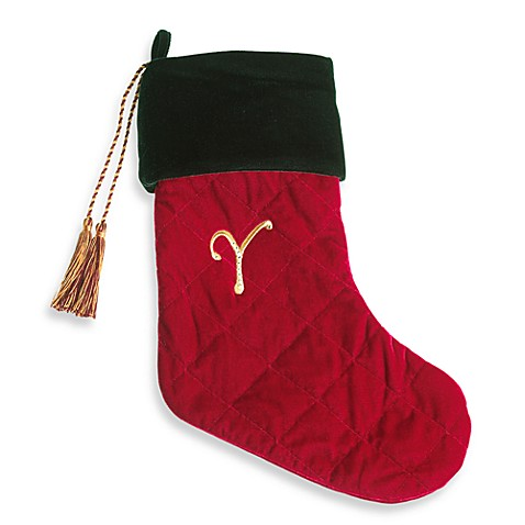 Harvey Lewis™ Monogram Initial Y Christmas Stocking Made with Crystals from Swarovski®