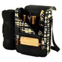 Picnic At Ascot Bordeaux Wine and Cheese Tote in Black/Yellow with Blanket