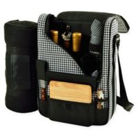 Picnic At Ascot Bordeaux Wine and Cheese Tote in Black/White with Blanket