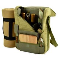 Picnic At Ascot Bordeaux Wine and Cheese Tote in Olive with Blanket