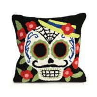 Liora Manne Frontporch Mr. Muerto Square Indoor/Outdoor Throw Pillow in Black