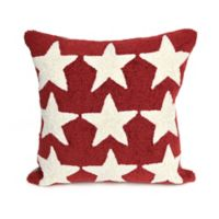 Liora Manne Frontporch Stars Square Indoor/Outdoor Throw Pillow in Red