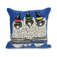 Liora Manne Frontporch Owl-O-Ween Square Indoor/Outdoor Throw Pillow in Blue