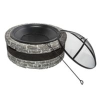 Sun Joe Cast Stone Wood-Burning Fire Pit in Charcoal Grey