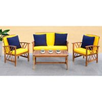 Safavieh Fontana 4-Piece All-Weather Set in Teak/Yellow